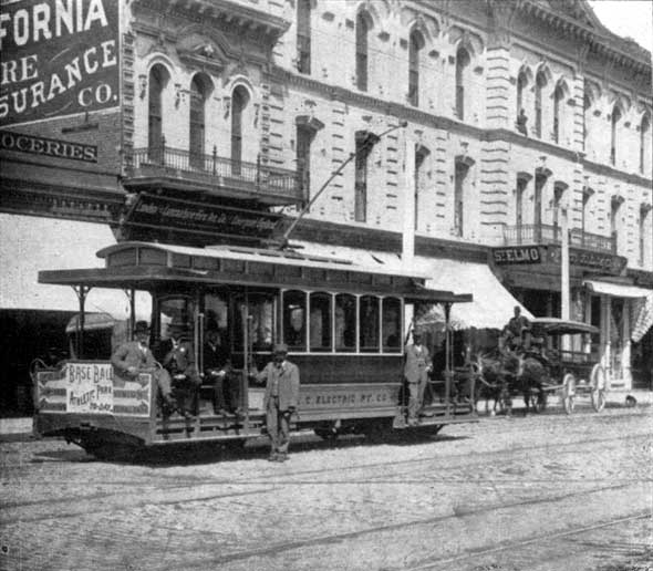 LACE car and crew in front of the St Elmo Hotel, 1892.